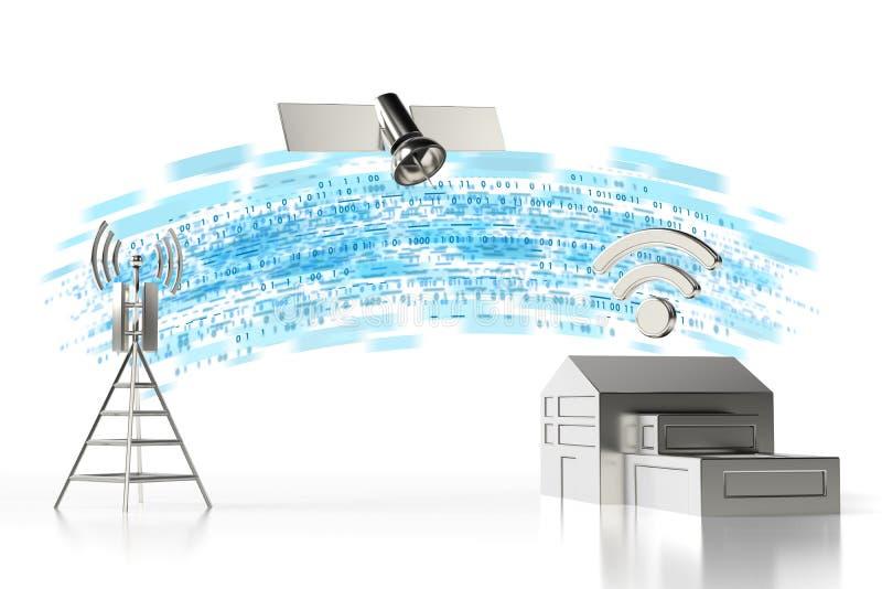 从家的高速数据传送 快速的互联网连接概念 背景查出的白色 3d翻译 皇族释放例证