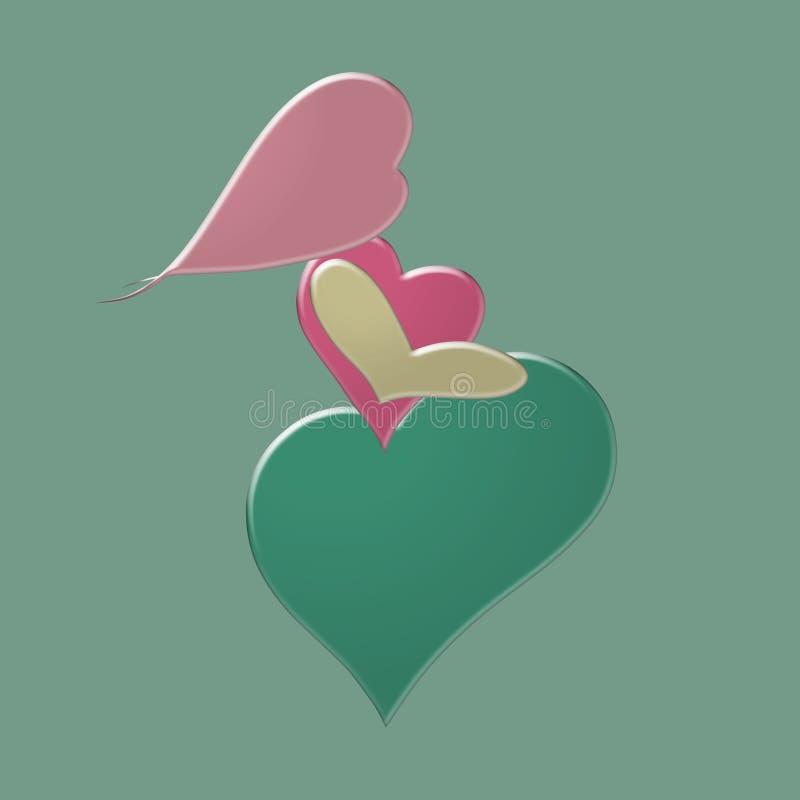 从容量色的心脏的孕妇,绿色背景 库存例证
