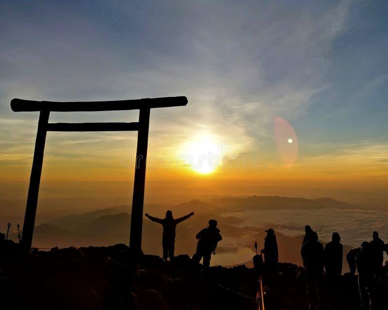 从富士山的日出 库存照片