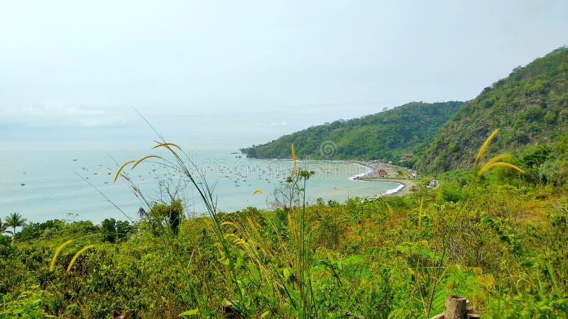从小山的顶端干净的海滩 免版税库存照片