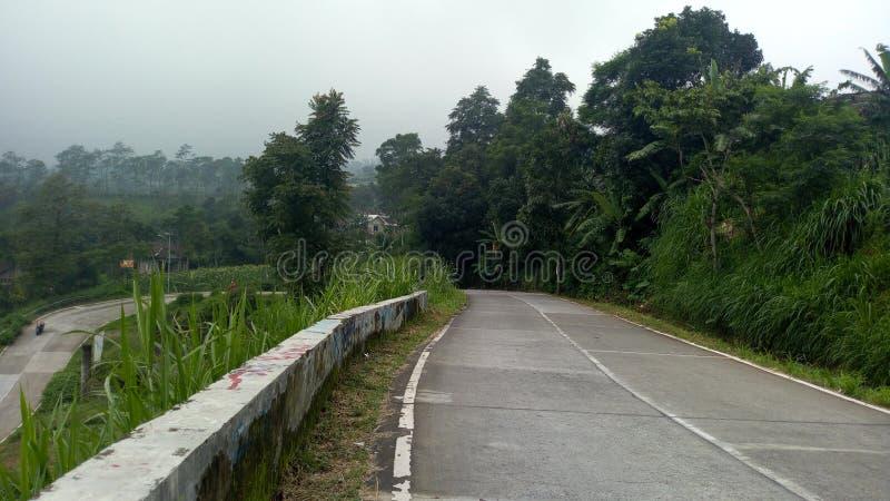 从小山顶的路 图库摄影