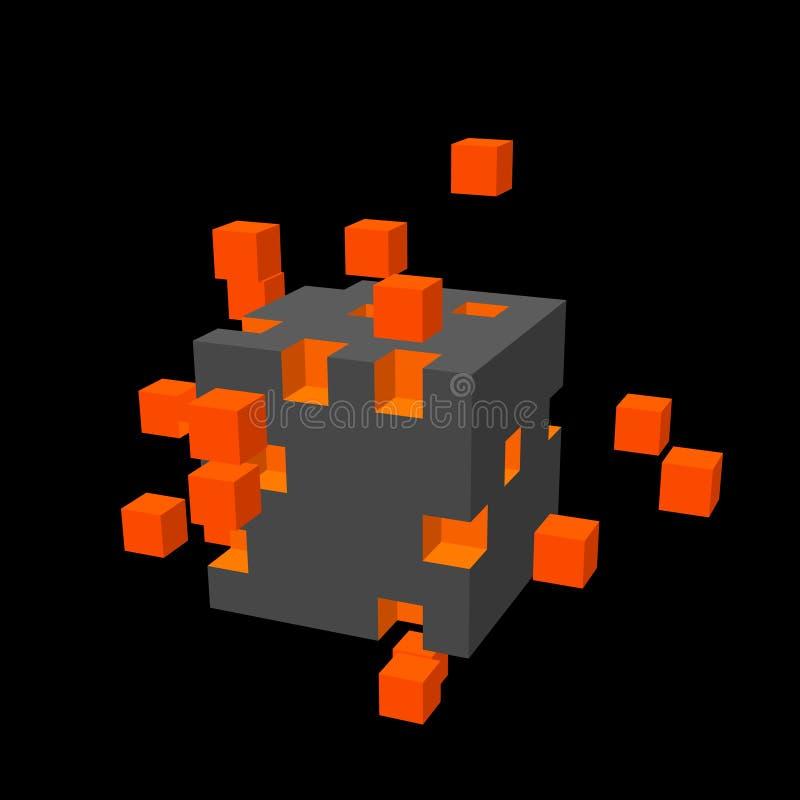 从小立方体的立方体 大数据概念 皇族释放例证