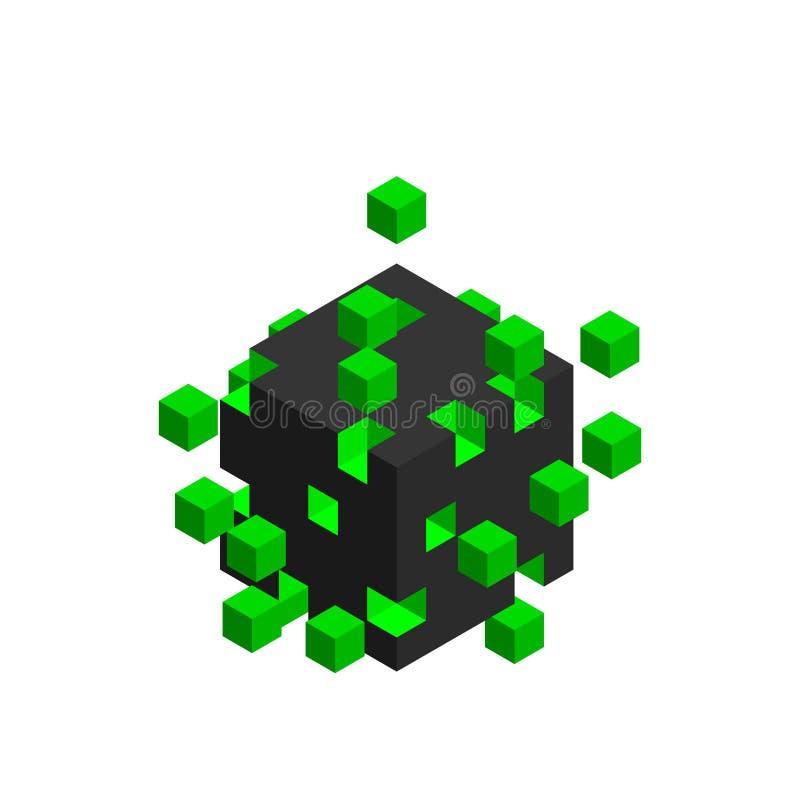 从小立方体的立方体 大数据概念 库存例证