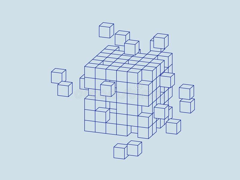 从小立方体的Wireframe立方体 大数据概念 库存例证