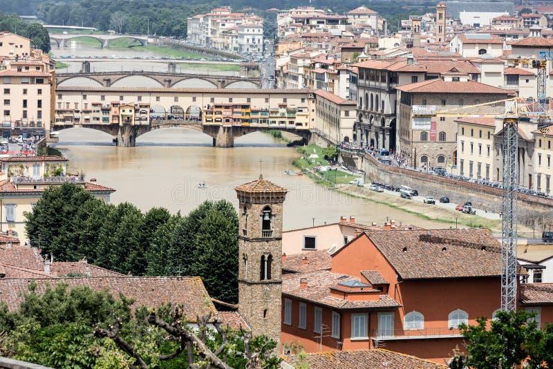 从屋顶的佛罗伦萨,意大利 库存照片