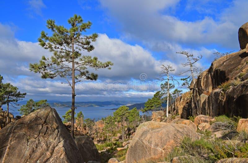 从山环境美化有海岸的看法 免版税库存照片