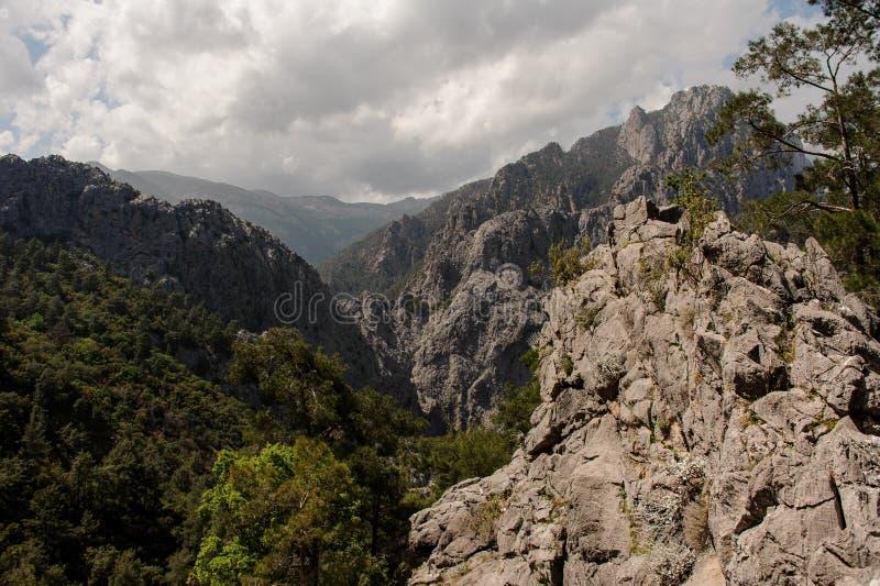从山的顶端令人惊异的看法 库存照片
