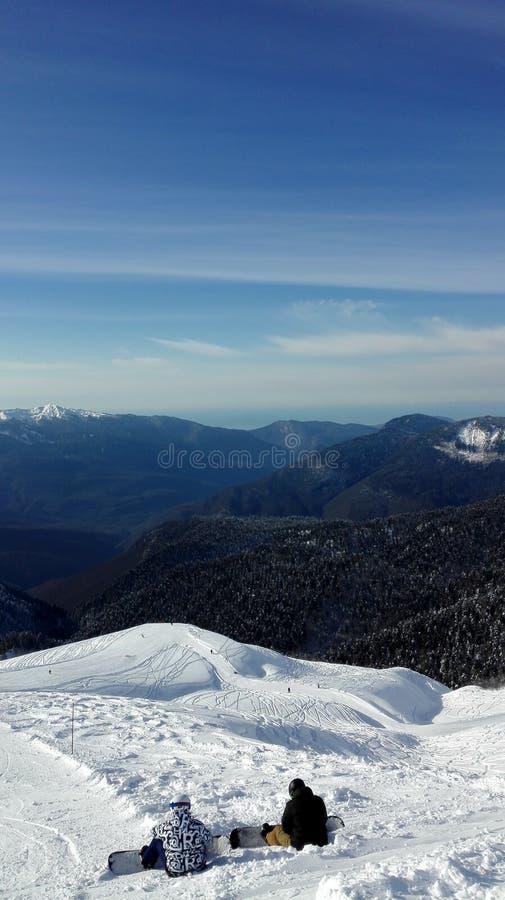 从山的顶端美丽的景色 库存照片