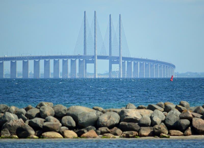 从岸的厄勒海峡桥梁在Dragør 免版税库存图片