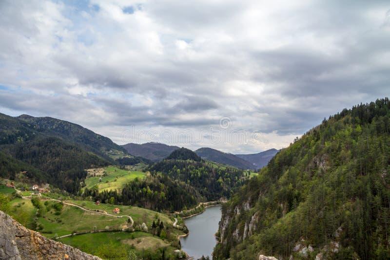 从峭壁的顶端和湖被看见的Zaovine谷,与某一山村安置看见,围拢由杉树, 免版税图库摄影