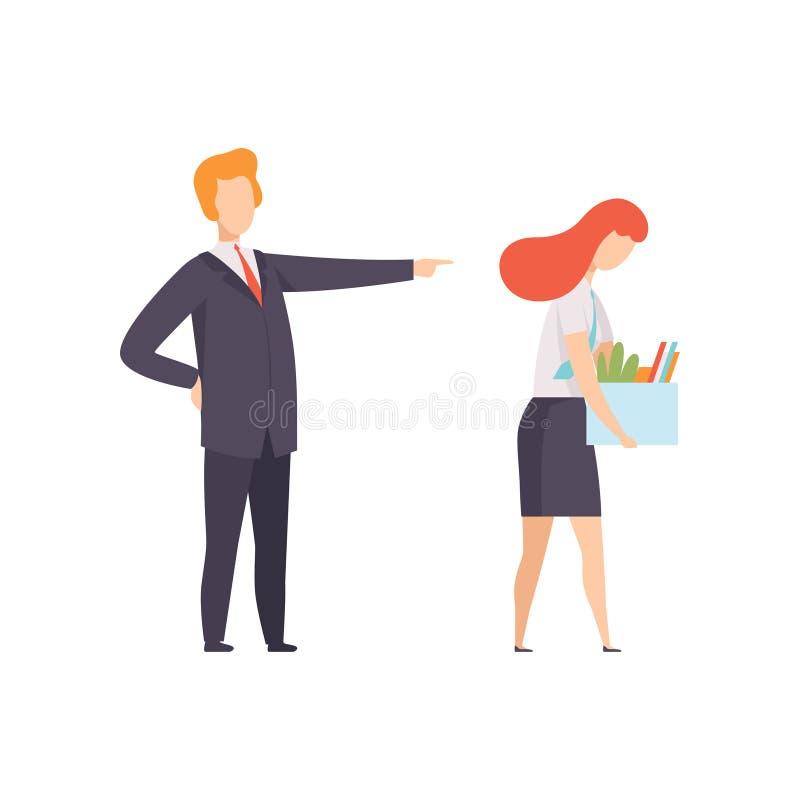 从工作遣散的女商人,有一个箱子的妇女私人物品,从工作解雇的办公室工作者,失业 库存例证
