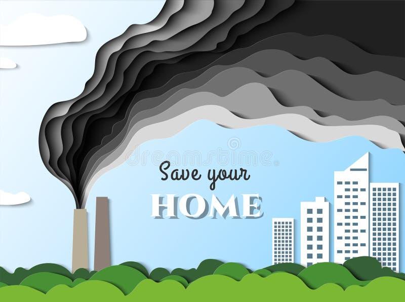 从工厂的烟去往城市 空气污染毒物 除您的家外 向量 纸裁减例证 皇族释放例证