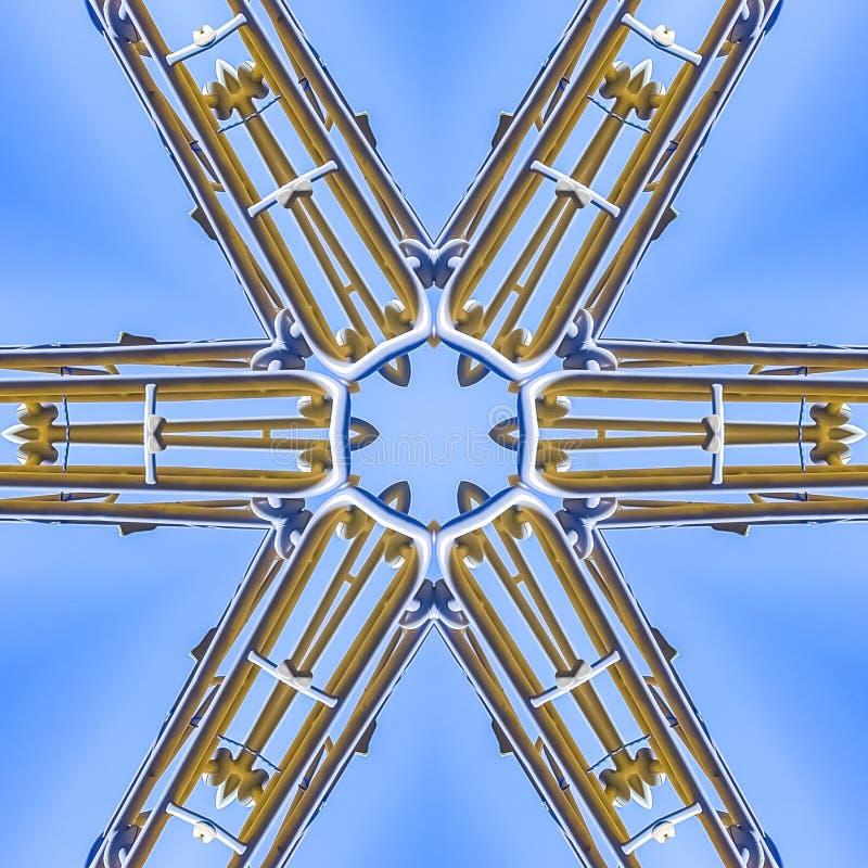 从工地工作边缘的方形的金属射线  皇族释放例证