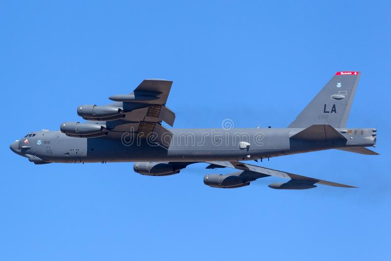 从巴克斯代尔空军基地的美国空军队美国空军波音B-52H Stratofortress战略轰炸机61-0012 免版税库存照片