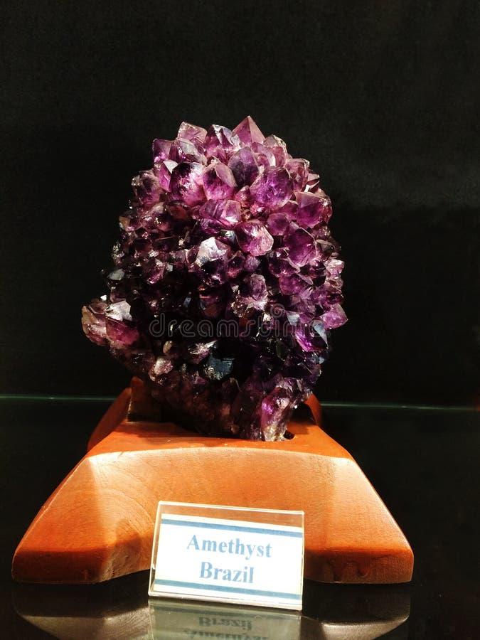 从巴西,Gargoti博物馆,罪人,马哈拉施特拉,印度的紫晶 免版税库存图片