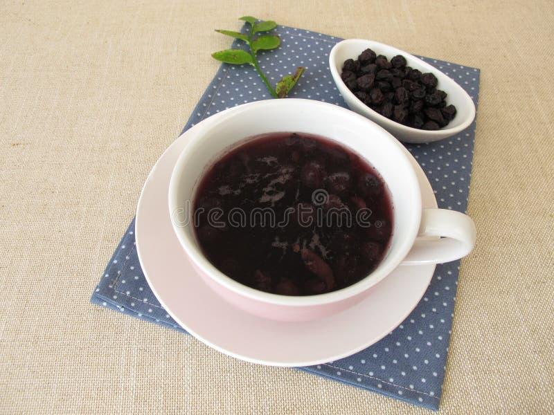 从干蓝莓的蓝莓汤 库存照片