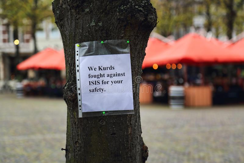 从库尔德示范的消息在海牙,荷兰 免版税图库摄影