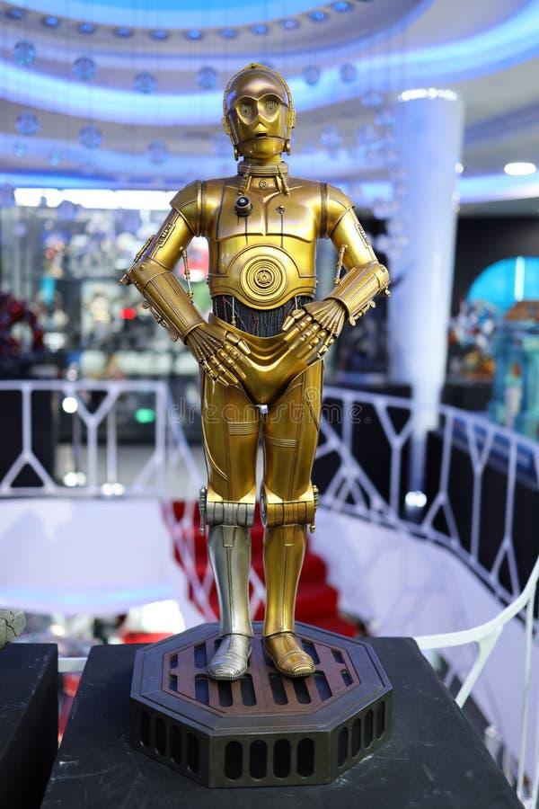 从式样的争霸的C-3PO形象在显示 免版税库存照片