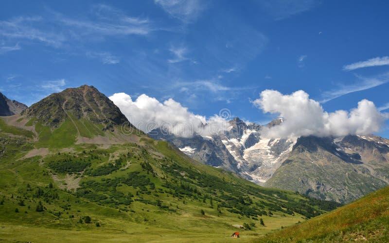 从彻尔du Lautaret,法国的美丽的景色 免版税库存照片