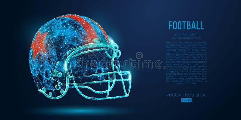 从微粒、线和三角的抽象美式足球橄榄球盔在蓝色背景 橄榄球 也corel凹道例证向量 向量例证