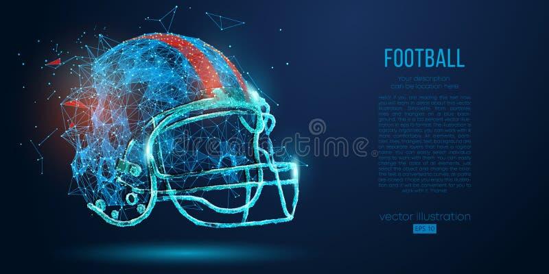 从微粒、线和三角的抽象美式足球橄榄球盔在蓝色背景 橄榄球 也corel凹道例证向量 皇族释放例证