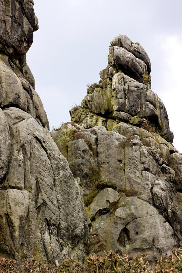 从德国比勒费尔德附近的外部石块看中间石 库存图片