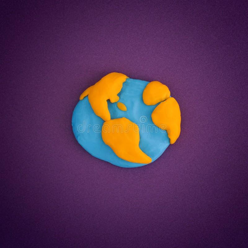 从戏剧黏土做的行星地球 免版税库存图片