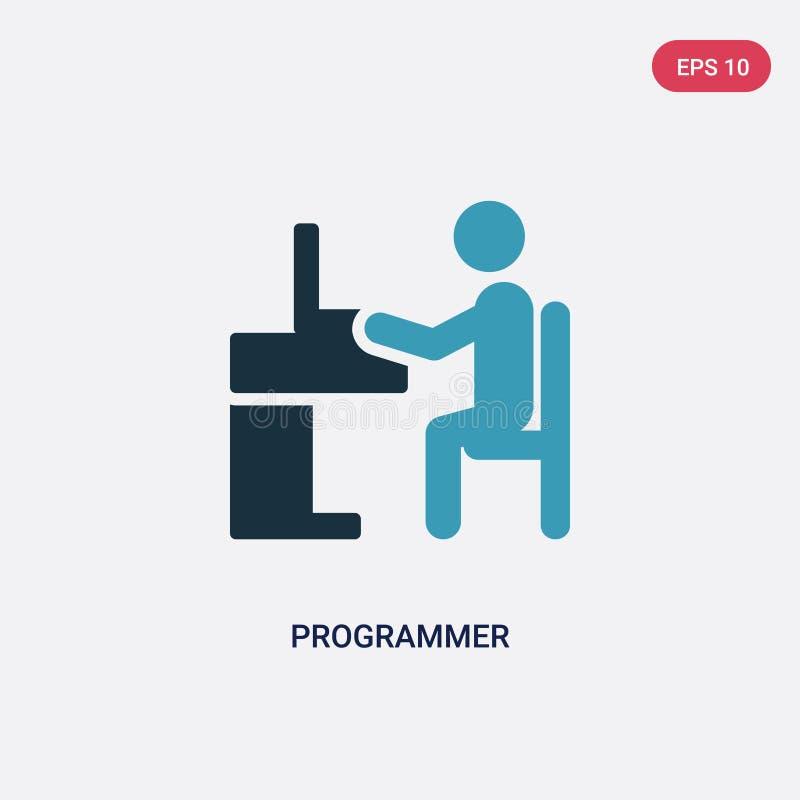 从战略概念的两种颜色的程序员传染媒介象 被隔绝的蓝色程序员传染媒介标志标志可以是网的用途,流动和 库存例证