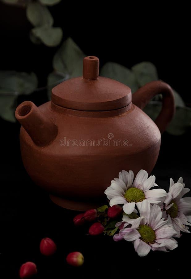 从手工制造黏土的茶壶 完全适用于茶道 免版税图库摄影