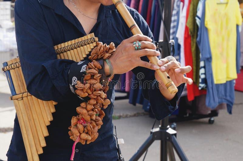 从执行在传统仪器的秘鲁的一个街道执行者拉丁美洲的音乐在街道上 免版税图库摄影