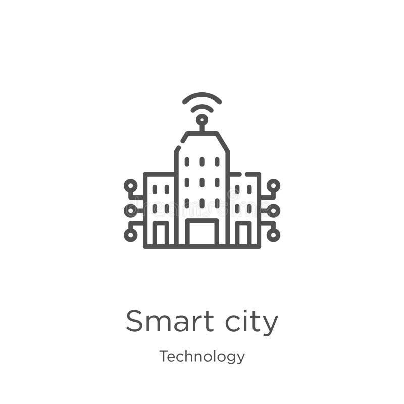 从技术汇集的聪明的城市象传染媒介 稀薄的线聪明的城市概述象传染媒介例证 概述,聪明稀薄的线 向量例证