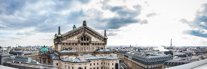 从拉斐特Galeries的屋顶看见的美丽的巴黎市的全景 库存照片