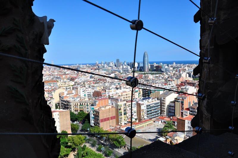 从拉萨格拉达Familia大教堂的全景 巴塞罗那西班牙 库存图片