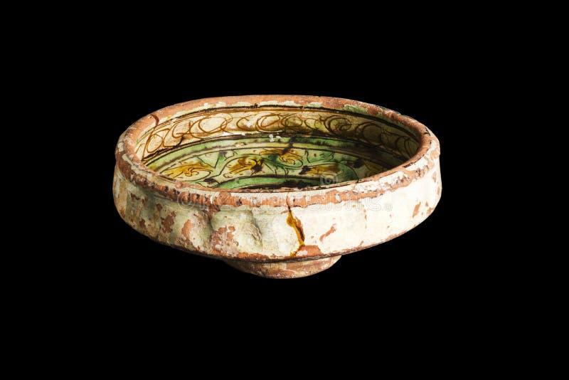 从挖掘的东部土耳其古色古香的黏土水罐装饰品在黑背景 库存照片