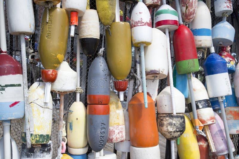 从捕鱼网的浮游物在波士顿港口 库存照片