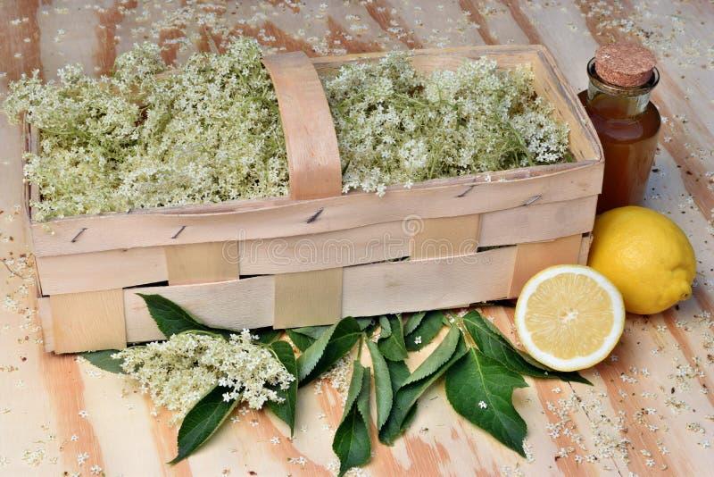 从接骨木浆果花的健康茶在桌上 图库摄影