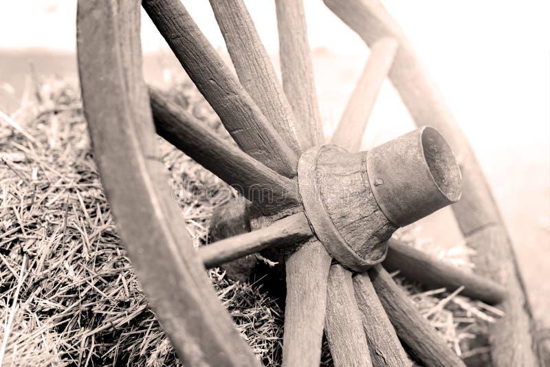 从推车的木轮子 库存照片