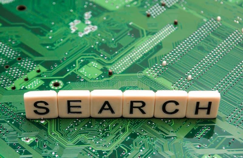 从搜索引擎询问的搜查结果,搜寻互联网 免版税图库摄影