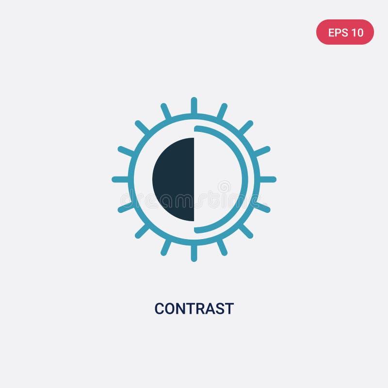 从摄影概念的两种颜色的对比传染媒介象 被隔绝的蓝色对比传染媒介标志标志可以是网的用途,流动和 皇族释放例证