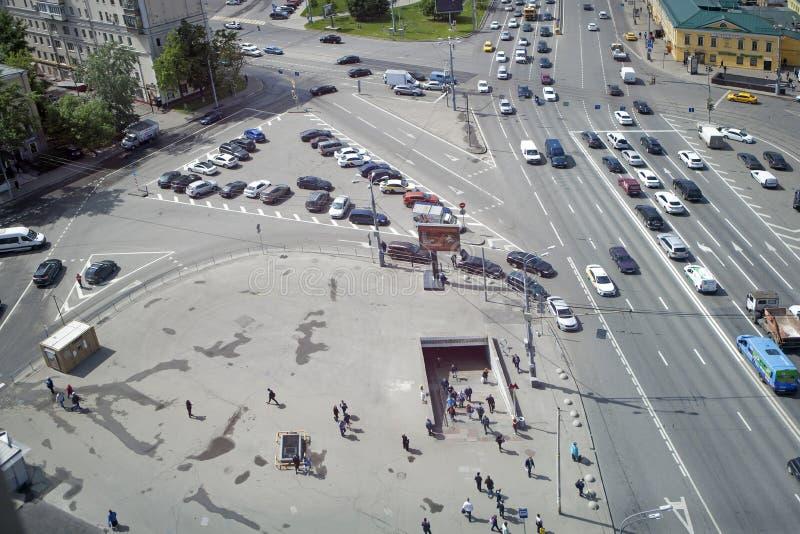 从摩天大楼的看法Ilyicha广场区域的  免版税图库摄影