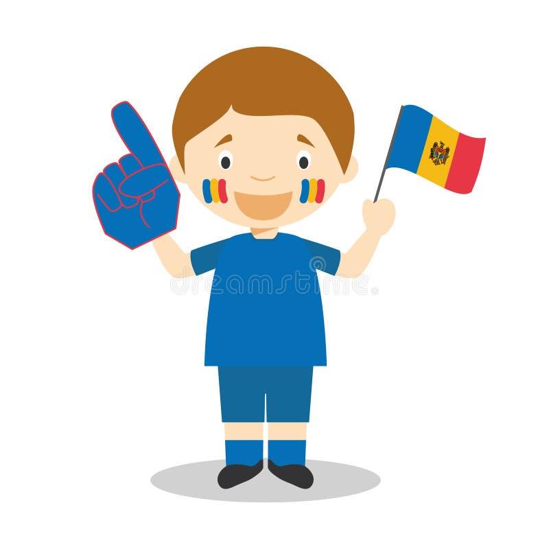 从摩尔多瓦的全国体育队爱好者有旗子和手套传染媒介例证的 皇族释放例证