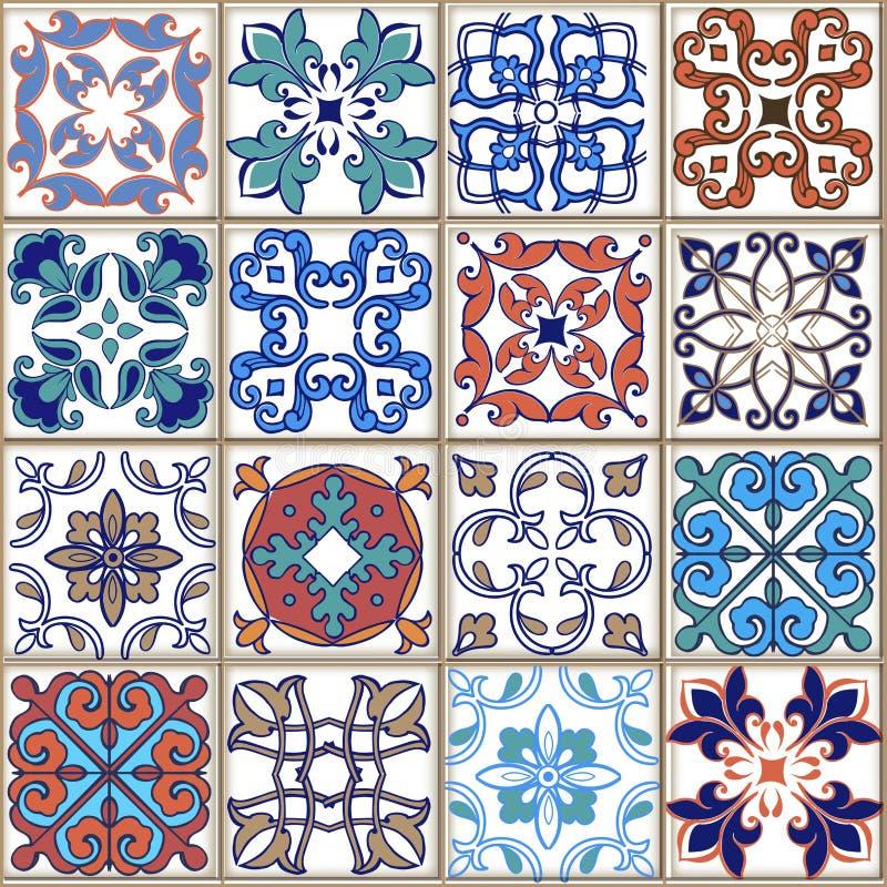 从摩洛哥人,葡萄牙语的汇集无缝的补缀品样式上色了瓦片 装饰装饰品可以为墙纸使用 皇族释放例证