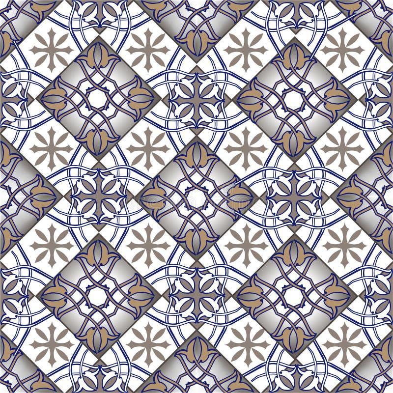 从摩洛哥,葡萄牙瓦片的无缝的补缀品样式在蓝色和棕色颜色 装饰装饰品可以为墙纸使用 皇族释放例证