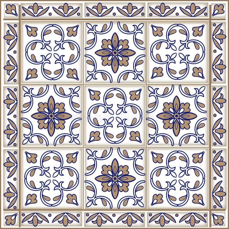 从摩洛哥,葡萄牙瓦片的无缝的补缀品样式在蓝色和棕色颜色 装饰装饰品可以为墙纸使用 库存例证
