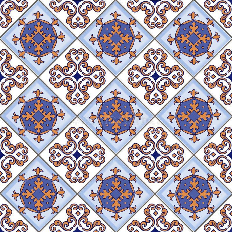 从摩洛哥,葡萄牙瓦片的无缝的补缀品样式 装饰装饰品可以为墙纸,背景,织品, texti使用 向量例证