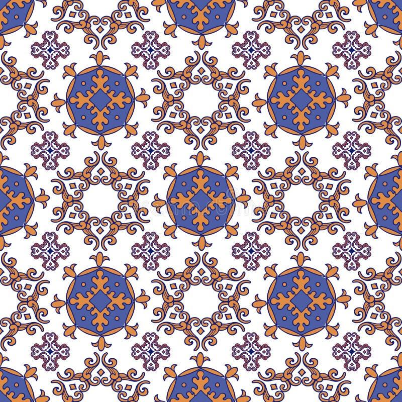 从摩洛哥,葡萄牙瓦片的无缝的补缀品样式 deco 库存例证