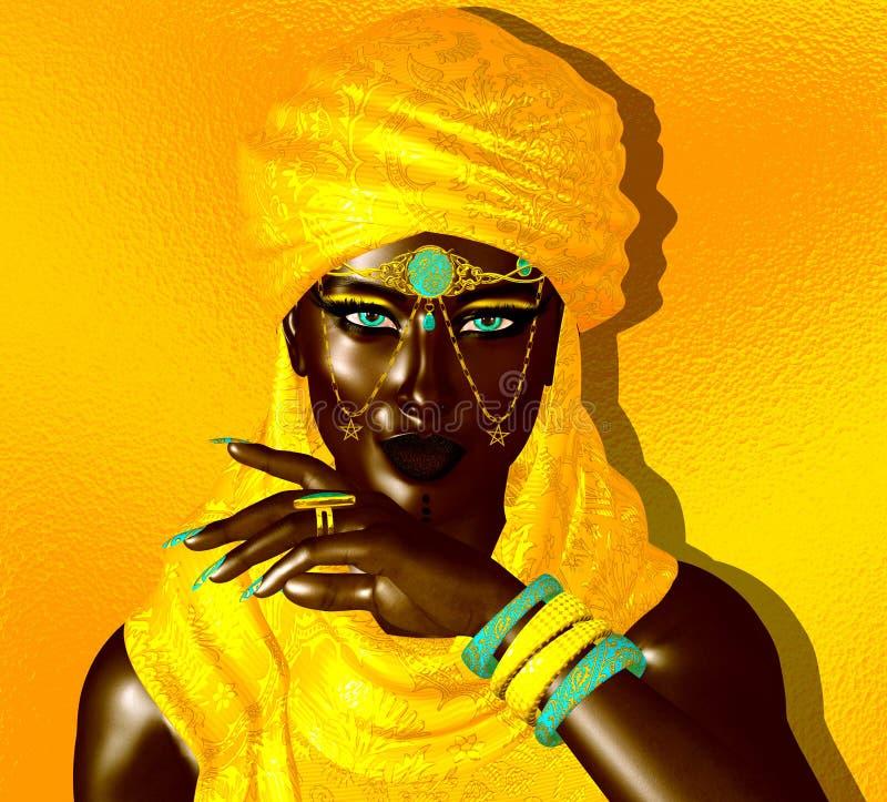 从撒哈拉沙子的神奇黑人阿拉伯妇女 向量例证