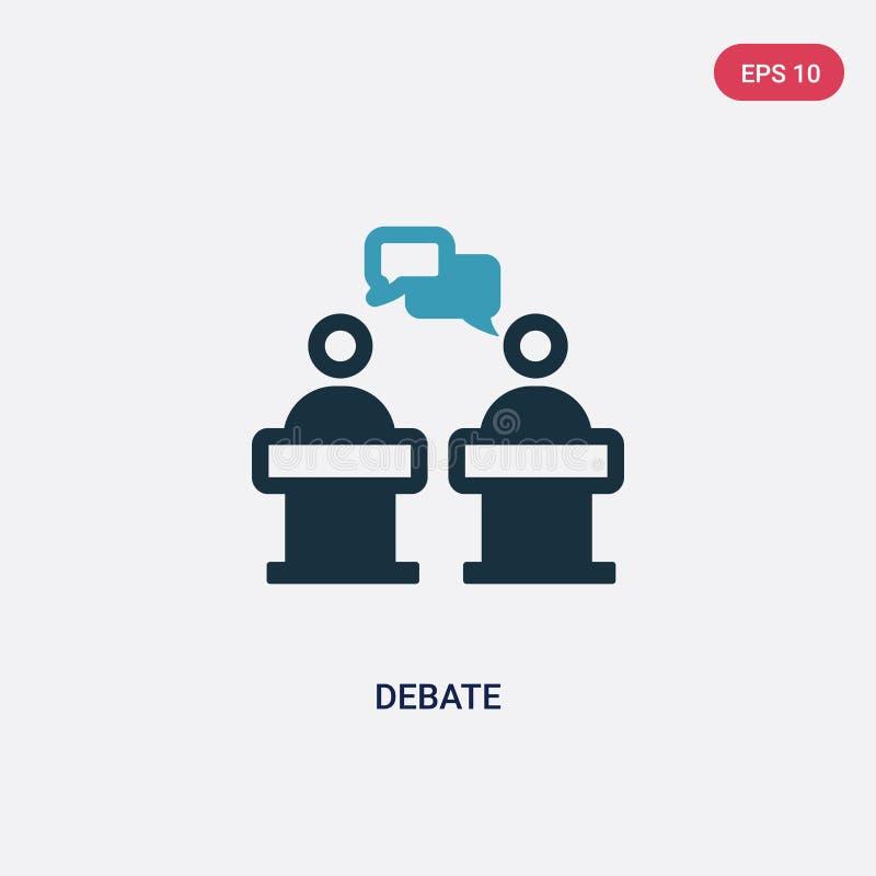 从政治概念的两种颜色的辩论传染媒介象 被隔绝的蓝色辩论传染媒介标志标志可以是网、机动性和商标的用途 库存例证