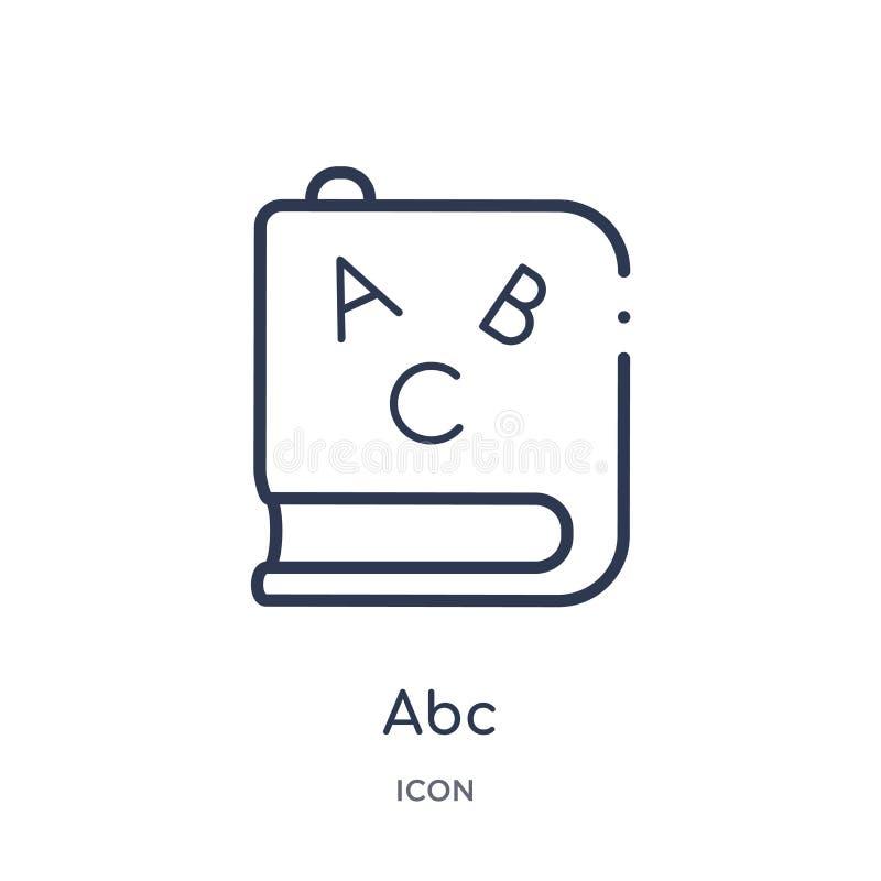 从教育概述汇集的线性abc象 稀薄的线在白色背景隔绝的abc传染媒介 abc时髦例证 库存例证