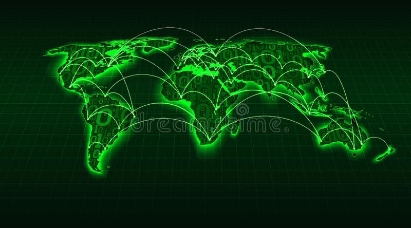 从数字二进制编码在栅格背景,互联网交易在城市之间和国家,传染媒介的抽象绿色世界地图 库存例证